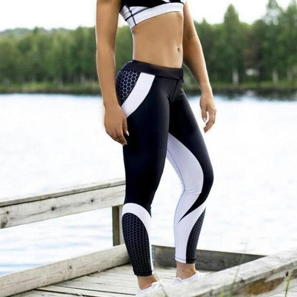 New Stylish Man Women Sports Yoga Elastic Leggings Gym Fitness Patchwork Color Black Jogging Trousers Runing Pants Size S M L XL