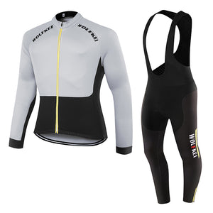 Mountain bike long sleeve cycling jersey tops and bib tights set/Quick Dry Cycling Clothing