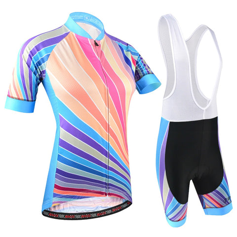 Women Rainbow Cycling Clothing Pro Team Bicycle
