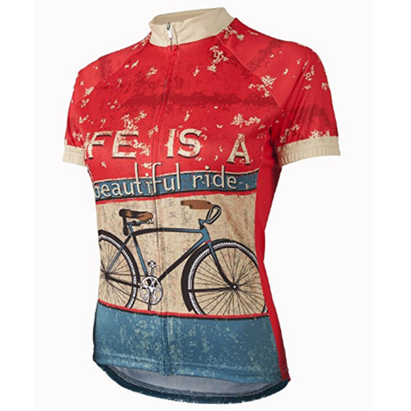 Retro LIFE IS A beautiful ride Women Cycling Jersey Short Sleeve Summer Breathable Cycling Wear Bike Clothes Maillot Ciclismo