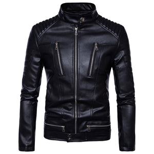 Motorcycle Bikers Jackets Mens Faux Leather Coat Zipper Overcoat Motor