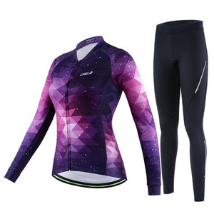 Bike Clothing Quick dry StarrySky Pattern Women Long Sleeve Cycling Jersey