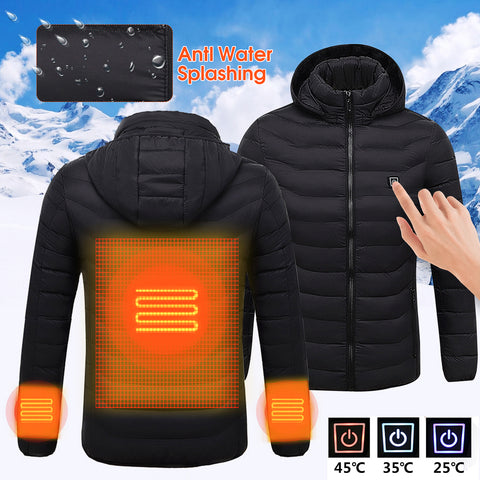 Mens Winter Heated USB Hooded Work Jacket Coats Adjustable Temperature Control Safety Clothing