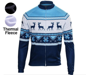 2018 Christmas Thermal Fleece Cycling Jersey for winter ringding