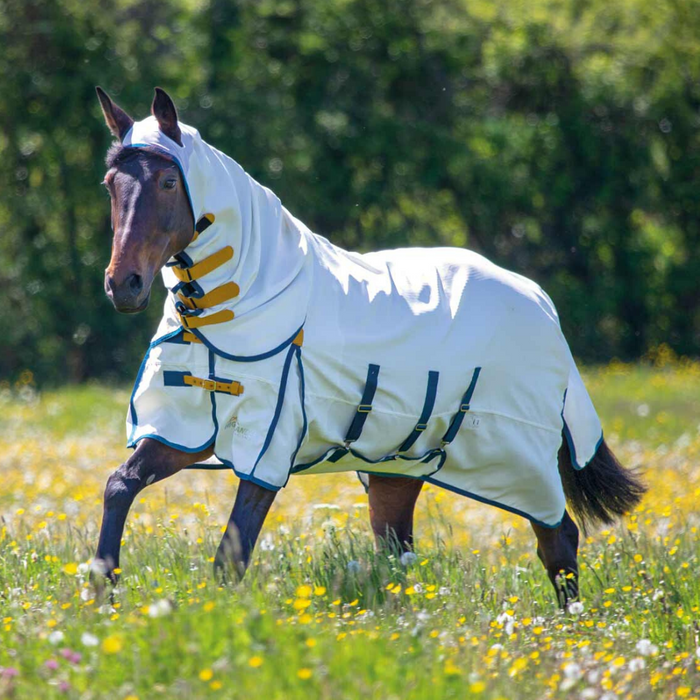 Shires Highlander Plus Sweet-Itch Combo - White/Navy/Mustard