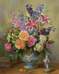 Roses, Lilies and Delphiniums