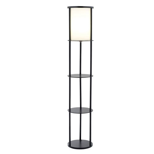 Modern asian style round shelf floor lamp in black with white shade modern asian style round shelf floor lamp in black with white shade mozeypictures Image collections
