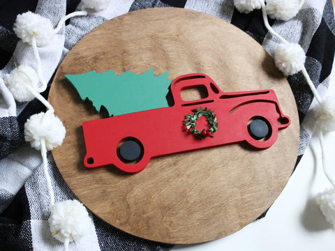 "18"" Red Christmas Tree Truck"