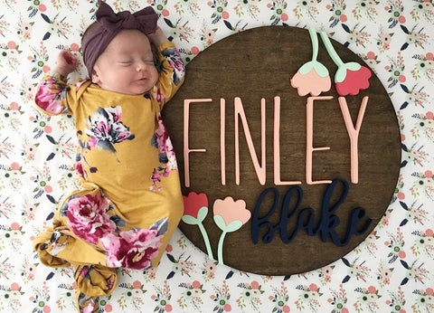 "18"" Floral Set Round Name Sign"