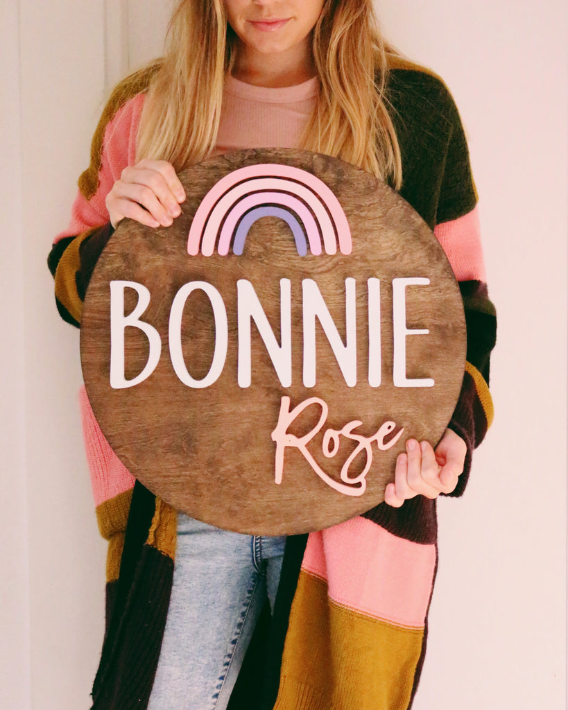 "18"" Rainbow Round Name Sign"