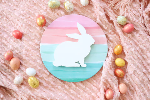 "12"" Spring Stripe Bunny Sign"
