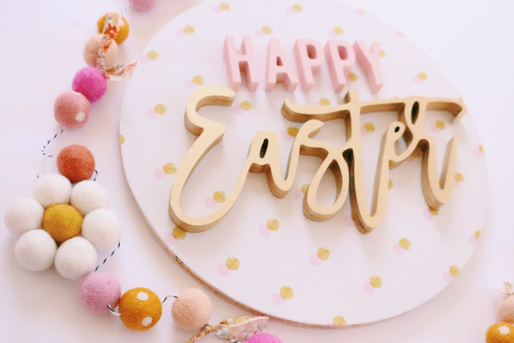"12"" Happy Easter Spring Sign"