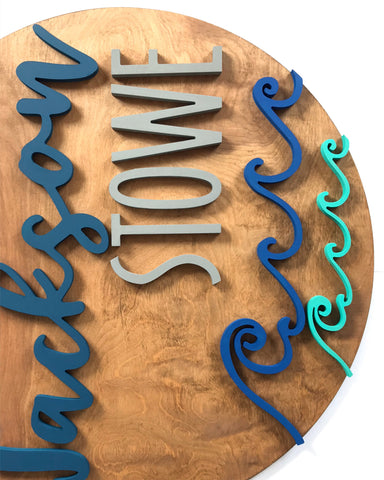 "18"" Waves Round Name Sign"