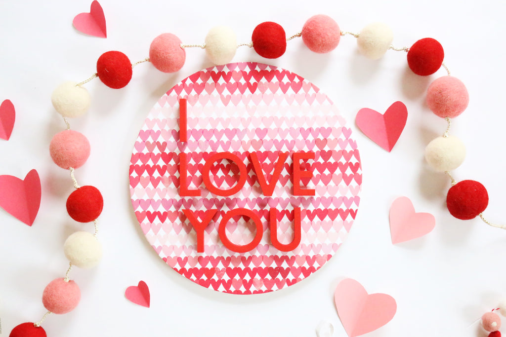 "12"" I Love You on Heart Valentine Sign"