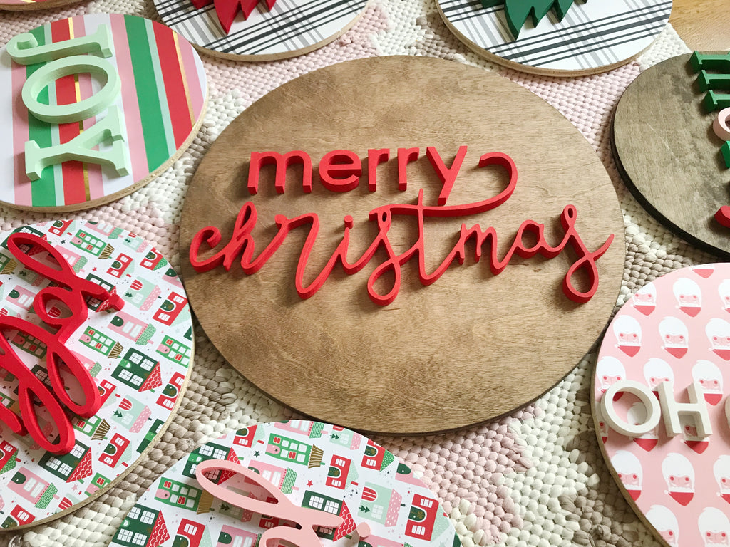 "18"" Merry Christmas Round Sign"
