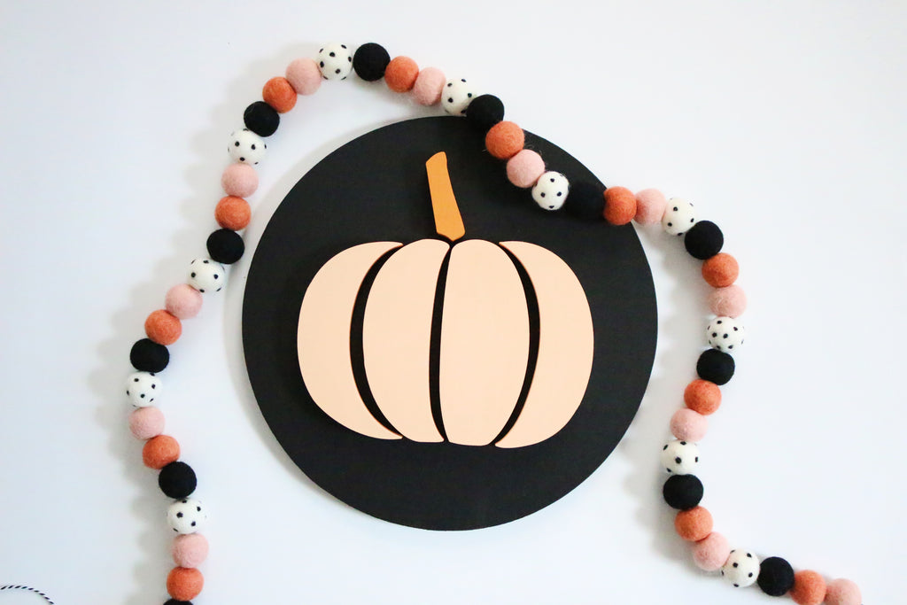"12"" Light Peach Pumpkin on Black Halloween Sign"