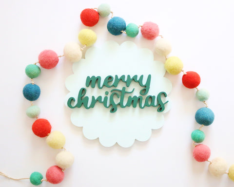 "12"" Blue & Green Scallop Christmas Sign"