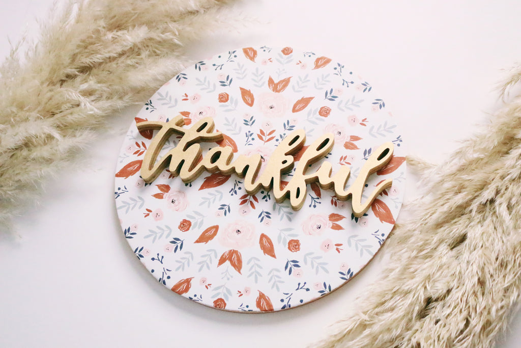"12"" Thankful Floral Fall Sign"