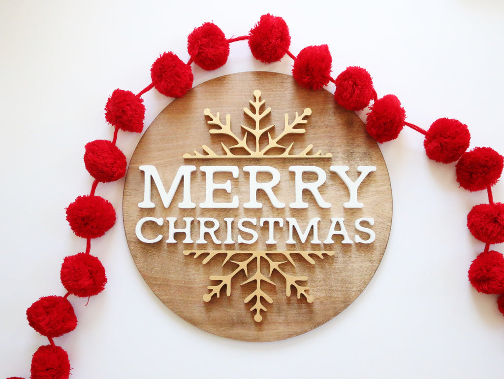 "18"" Merry Christmas Snowflake Sign"