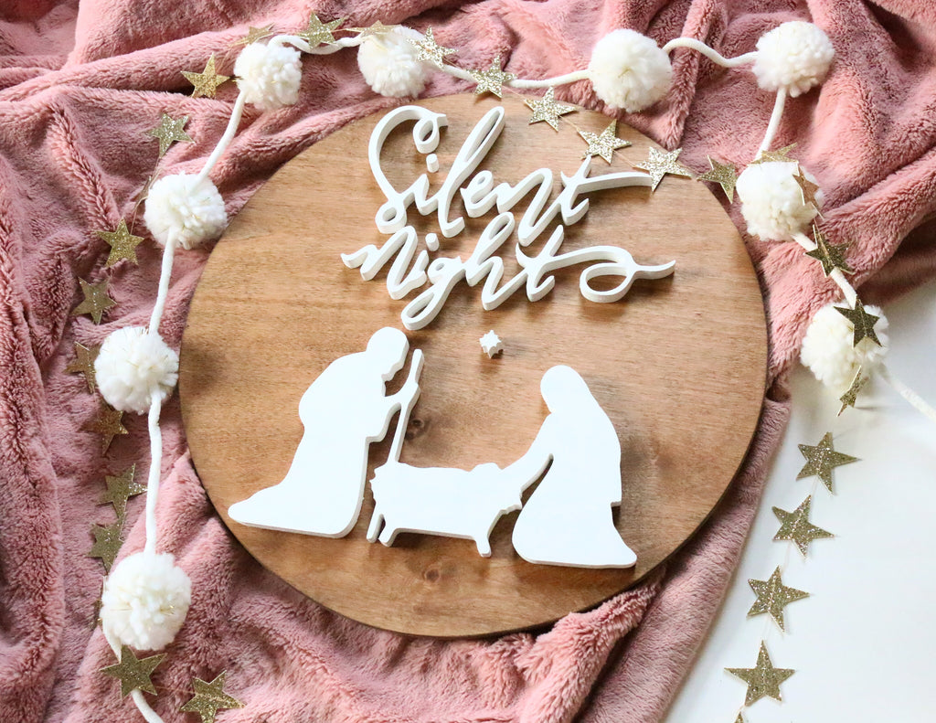 "18"" Silent Night Christmas Sign"