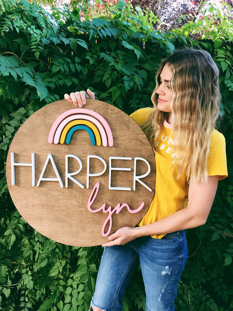 "24"" Rainbow Round Name Sign"
