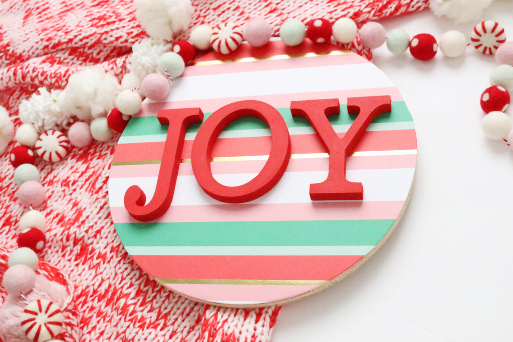 "12"" JOY Christmas Sign"