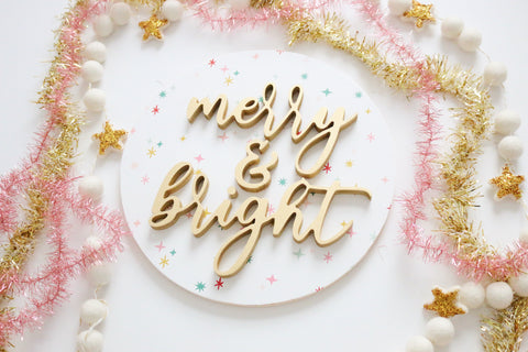 "12"" Merry & Bright Christmas Sign"