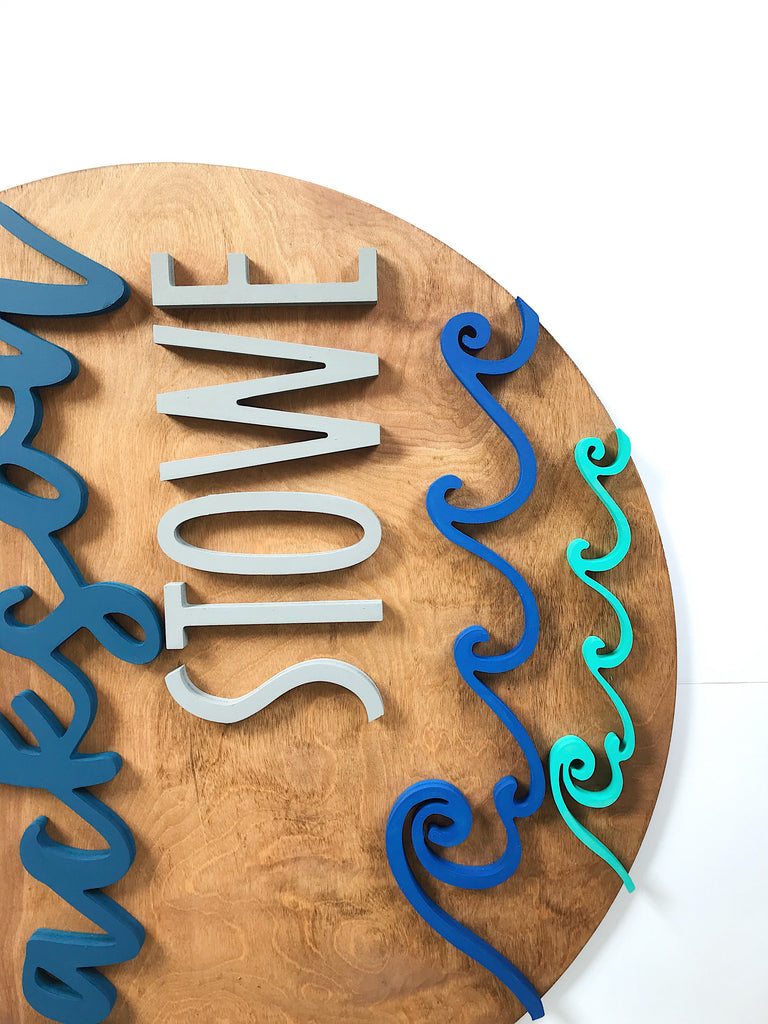 "24"" Waves Round Name Sign"