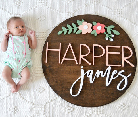 "24"" Floral Arch Round Name Sign"