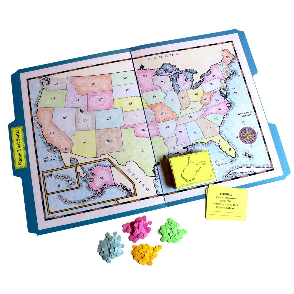 """Name That State!"" File Folder Game"