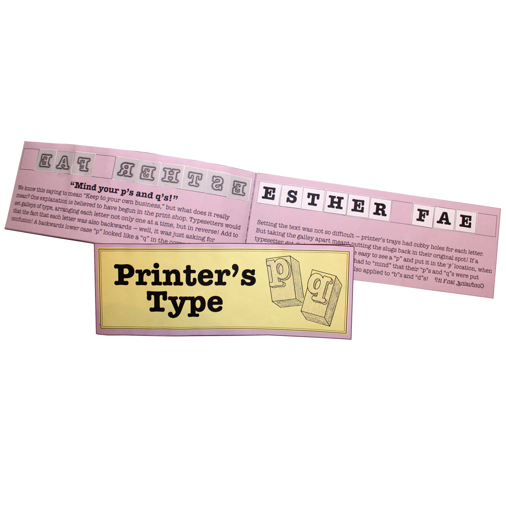 Printer's Type Lap Book Project