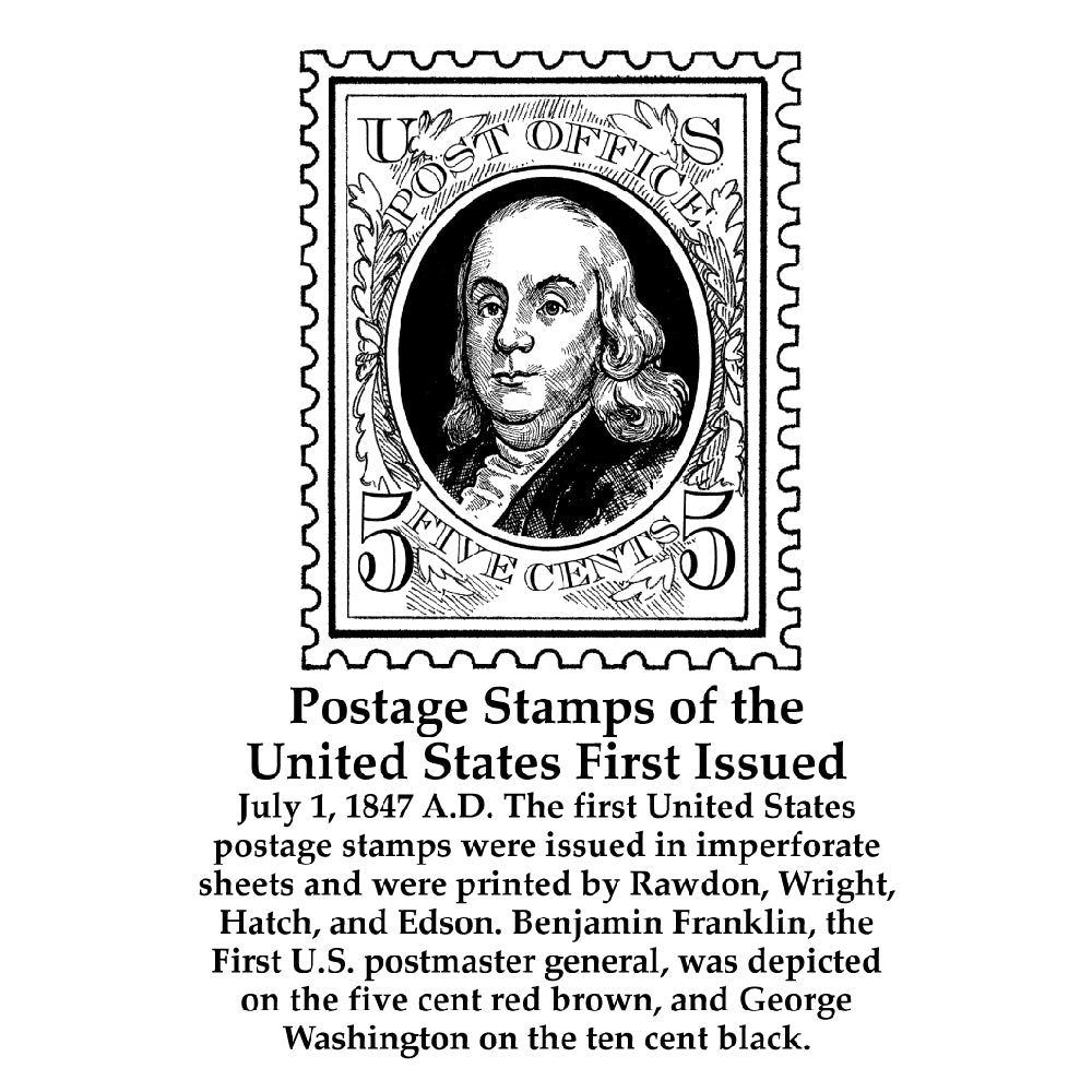 Postage Stamps of the United States First Issued Timeline Figure (With Text)