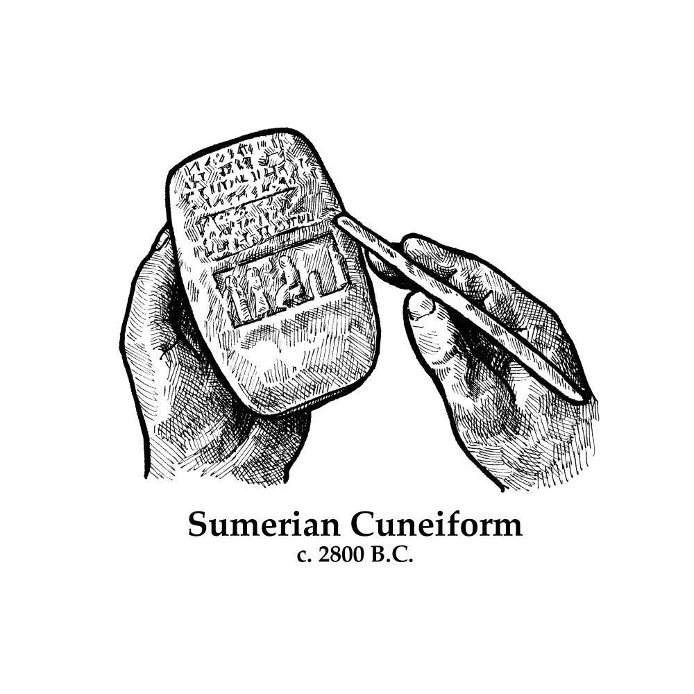 Sumerian Cuneiform Timeline Figure (Without Text)