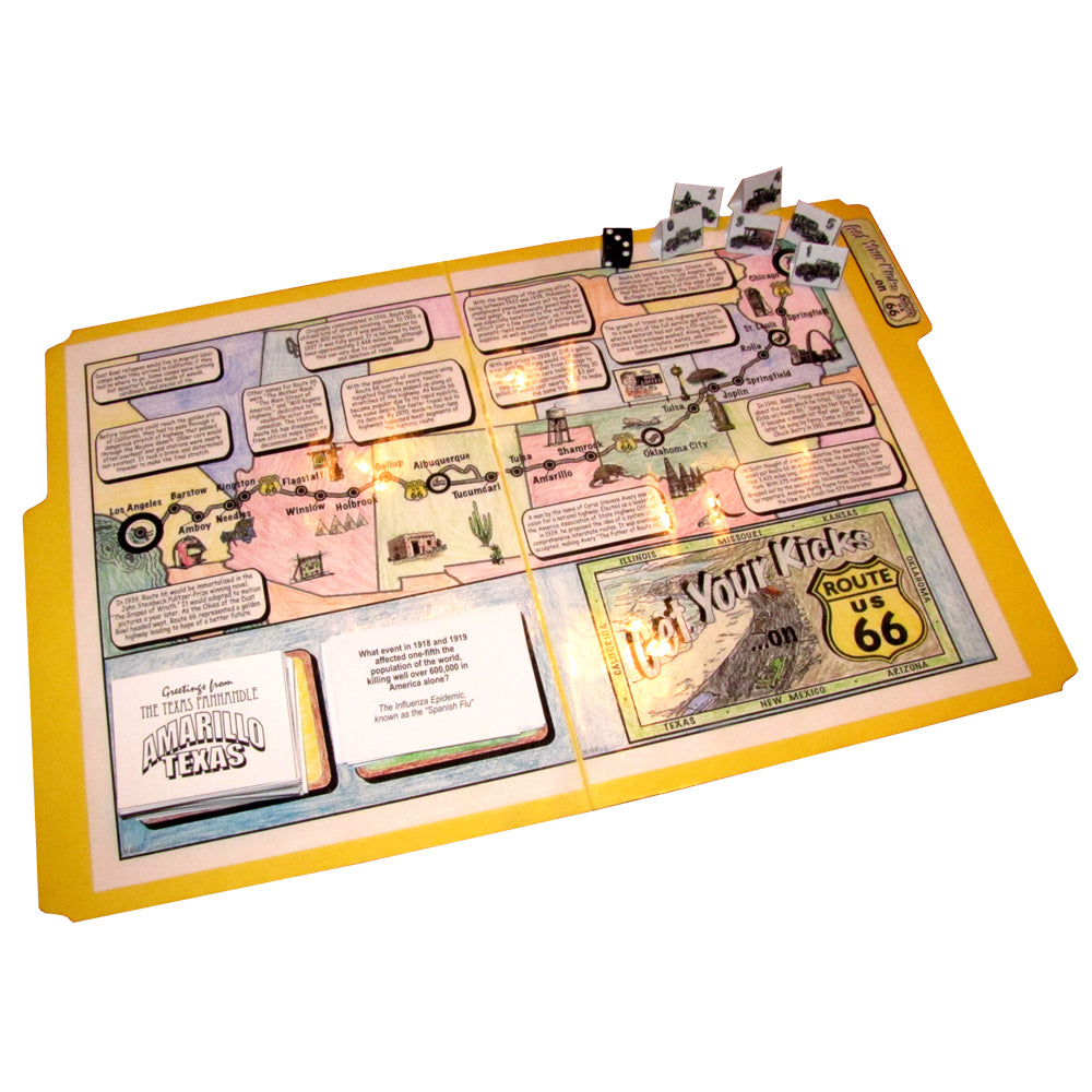 """Get Your Kicks on Route 66"" File Folder Board Game"