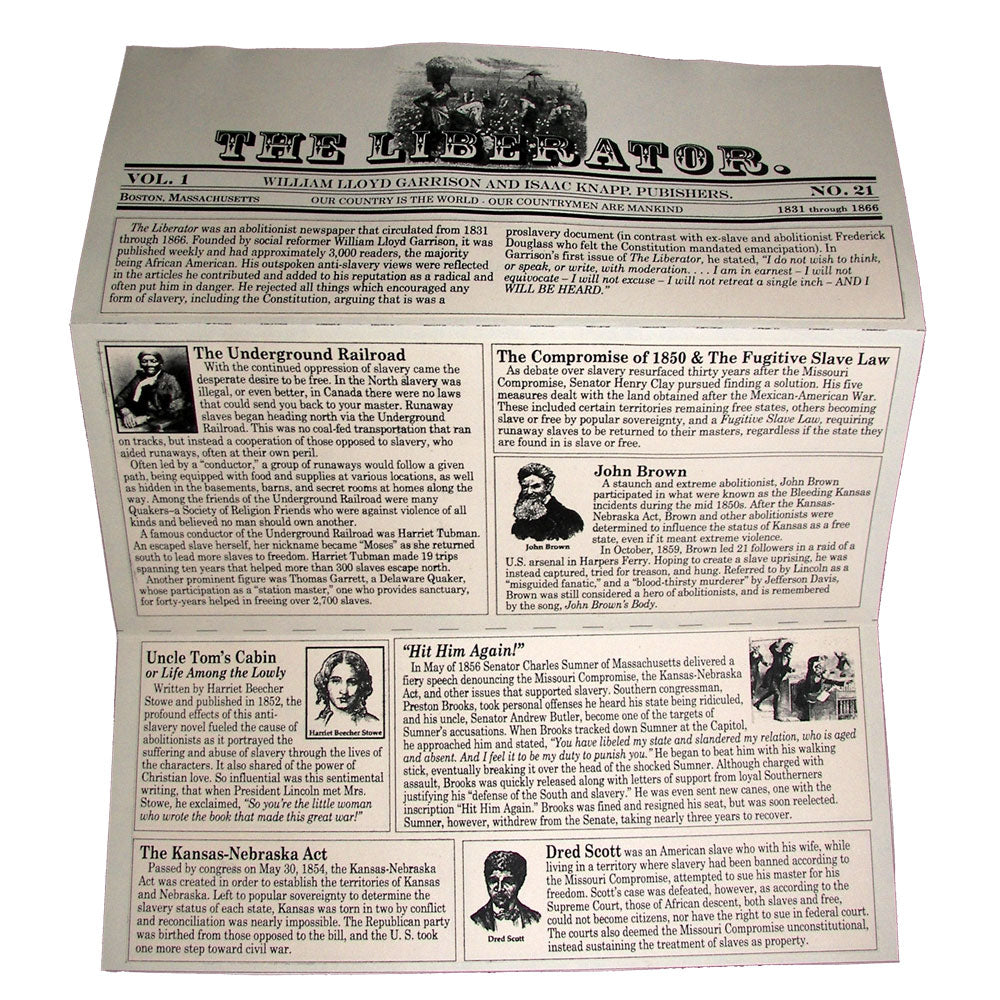 "Abolitionist Newspaper ""The Liberator"" Lap Book Project"