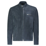 Cafe Racer Jacket in Navy Calfsuede