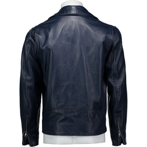 Moto Jacket in Navy Lambskin