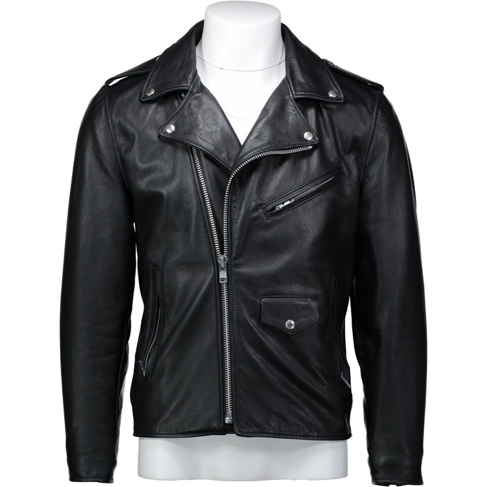 Moto Jacket in Black Cowhide