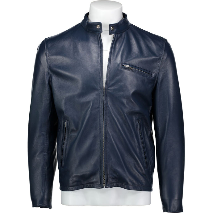Cafe Racer Jacket in Navy Lambskin