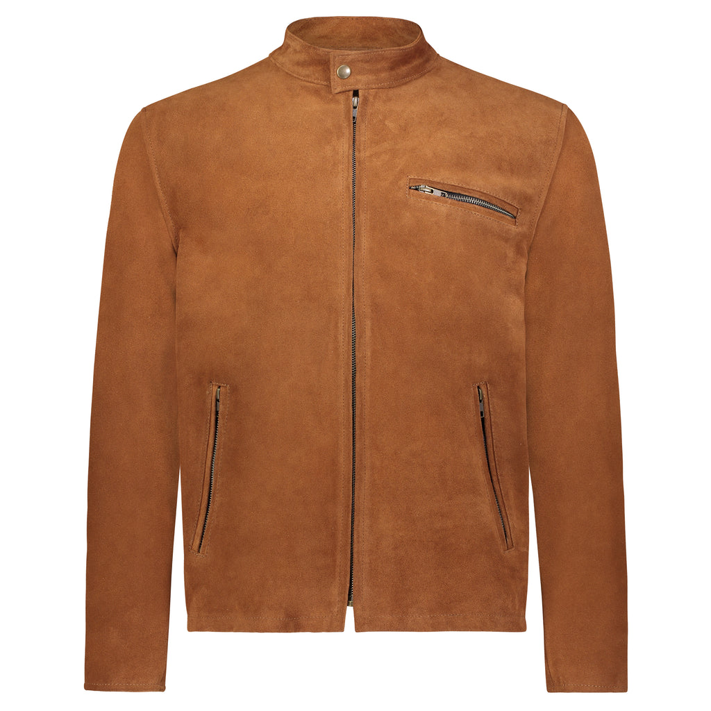 Cafe Racer Jacket in Cognac Calfsuede