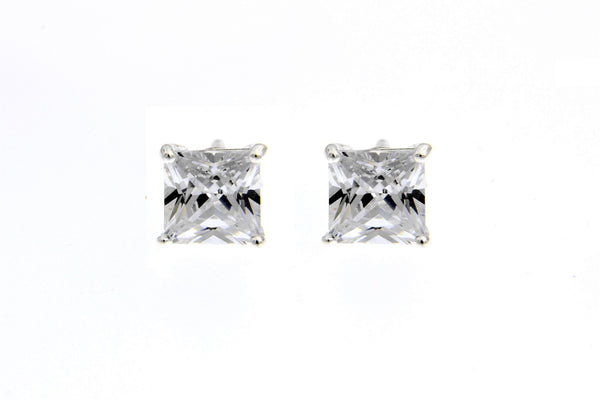 Sterling Silver CZ Square Stud Earrings/6mm