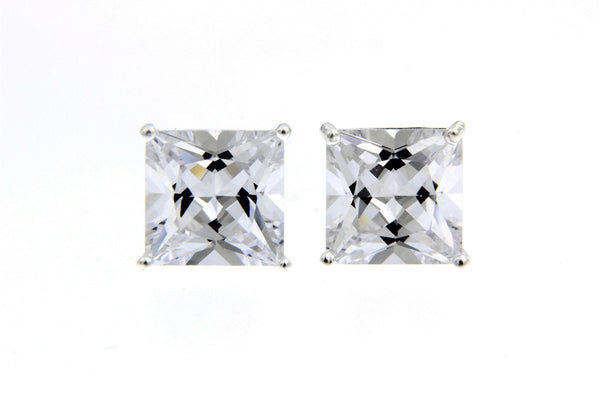 Sterling Silver CZ Square Stud Earrings/8mm