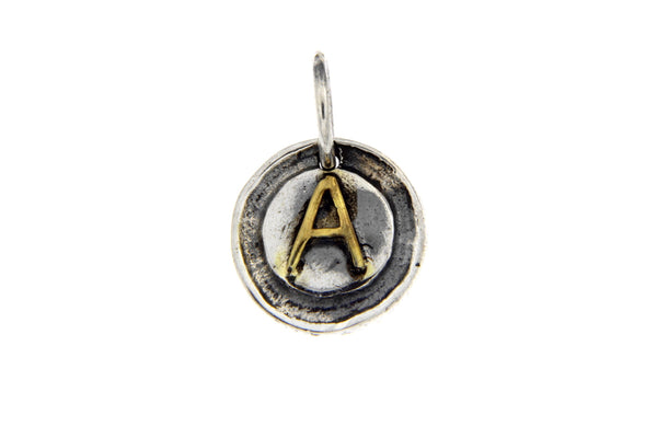 Two-Tone Initial Letter A Oxidized Charm