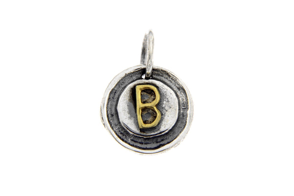 Two-Tone Initial Letter B Oxidized Charm
