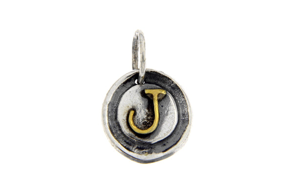 Two-Tone Initial Letter J Oxidized Charm