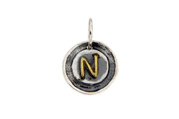 Two-Tone Initial Letter N Oxidized Charm