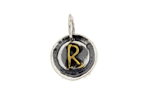 Two-Tone Initial Letter R Oxidized Charm