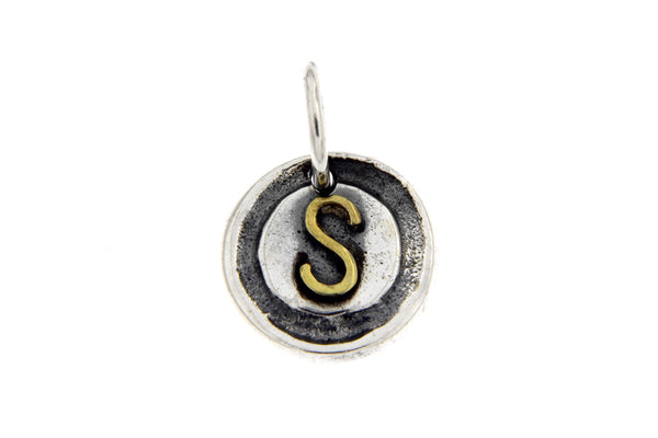 Two-Tone Initial Letter S Oxidized Charm