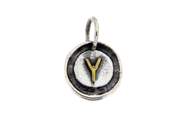 Two-Tone Initial Letter Y Oxidized Charm