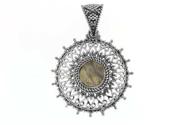 Round Natural Stone Filigree Pendant